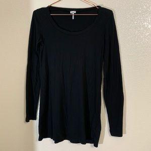 Splendid | Black Long Sleeve Basic Black Tunic Tee